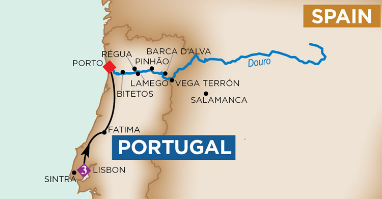 Amawaterways Enticing Douro cruise map