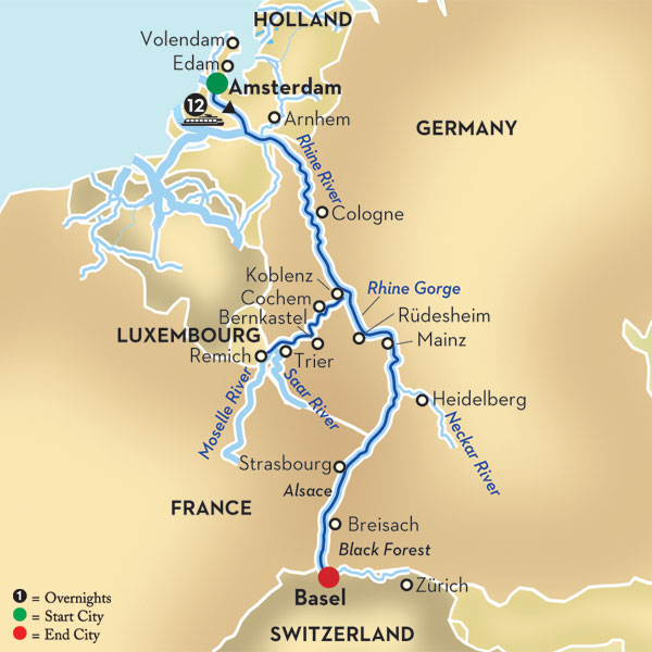 Mosel River Germany Map.Rhine And Moselle Cruise From Amsterdam To Basel