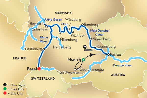 Rhine And Moselle Cruise From Amsterdam To Basel: Map Of Danube River In Germany At Infoasik.co