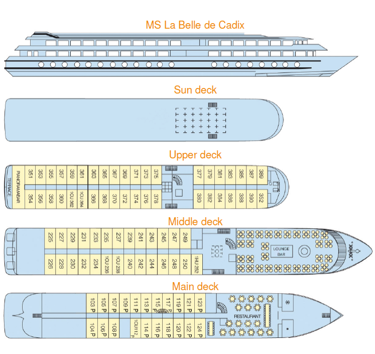 Deck plan of the Belle de Cadix