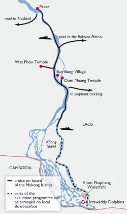 Pakse Mekong Cruise Map