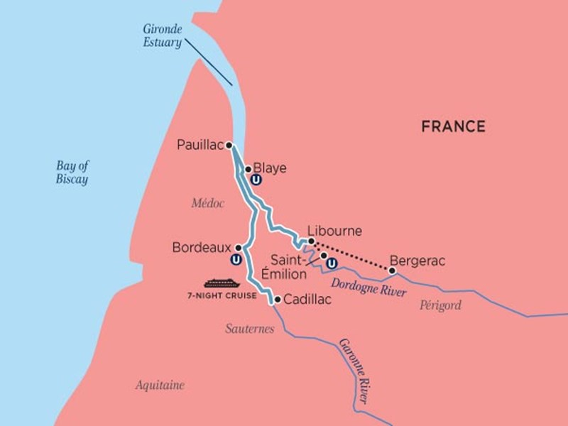 UNI Bordeaux cruise map