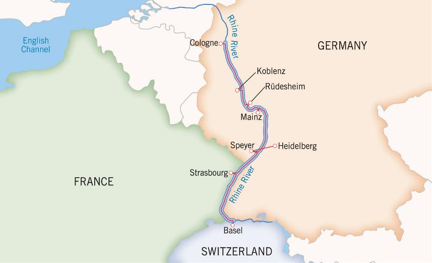 Rhine Holiday Markets cruise map