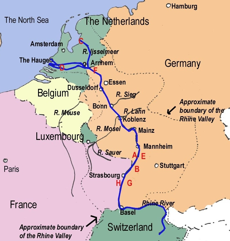 Mosel River Germany Map.Rhine River Cruises Euro River Cruises